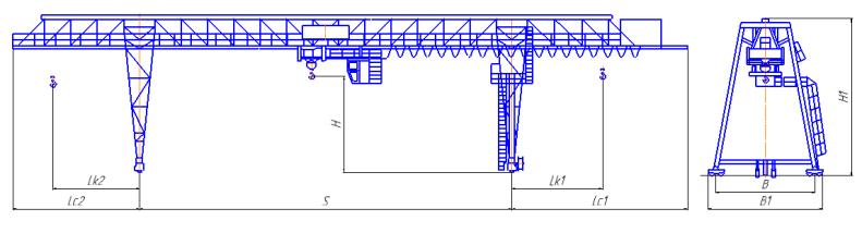 Кран козловой двухрельсовый грузоподъемностью до 50 тонн